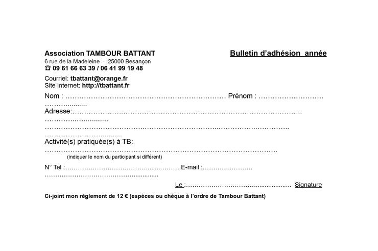 Bulletin adhesion Tambour Battant